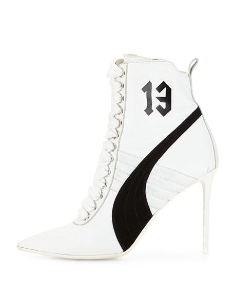 Suede 105mm Sneaker Bootie, White/Black