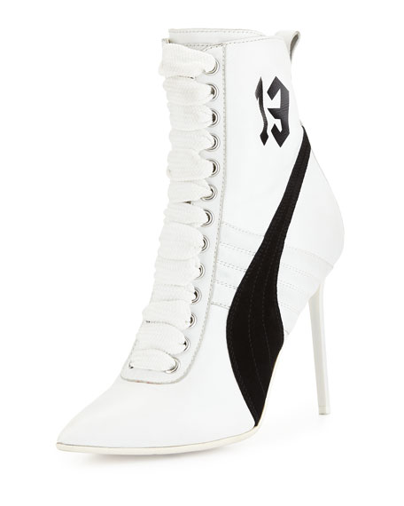 info for ee8e9 afbdb Suede 105mm Sneaker Bootie White/Black