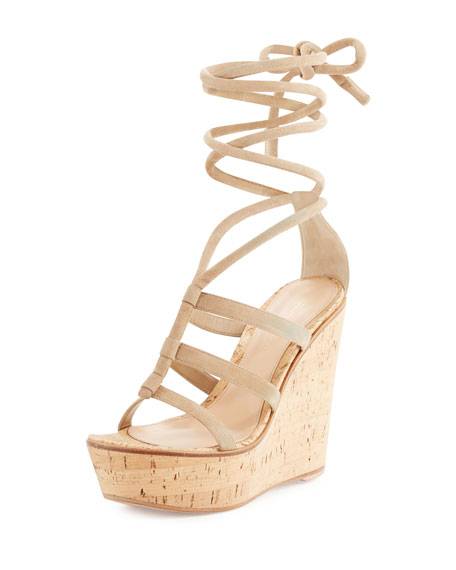 Gianvito Rossi Suede Ankle-Wrap Wedge Sandal