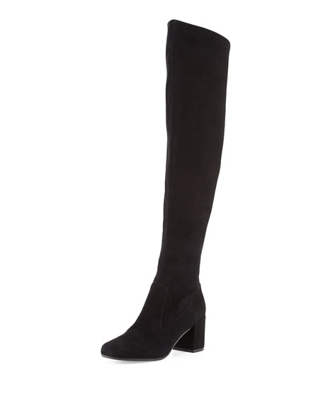 Blythe Suede 75mm Over-the-Knee Boot, Black