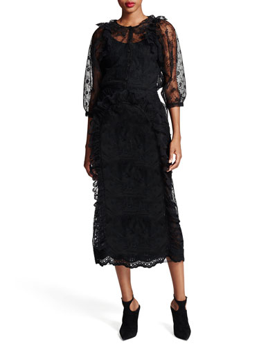Floral-Lace Button-Front Blouse & Ruffled Floral-Lace Pencil Skirt