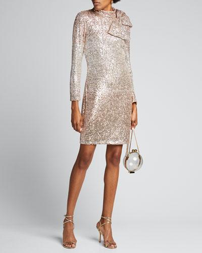 Ombre Sequin Bow-Shoulder Long-Sleeve Dress