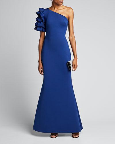 Asymmetric Looped One-Shoulder Mermaid Gown