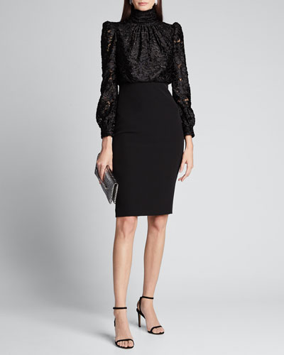 Clip Print Poet Top Dress w/ Crepe Skirt
