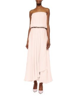 Strapless Faux-Wrap Silk Maxi Dress