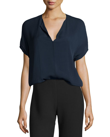 Pintuck Split-Neck Silk Top