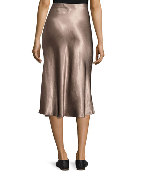 Flared Satin Midi Skirt, Coffee