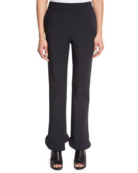 Image 1 of 1: William Circle Ruffle-Hem Ponte Pants, Black