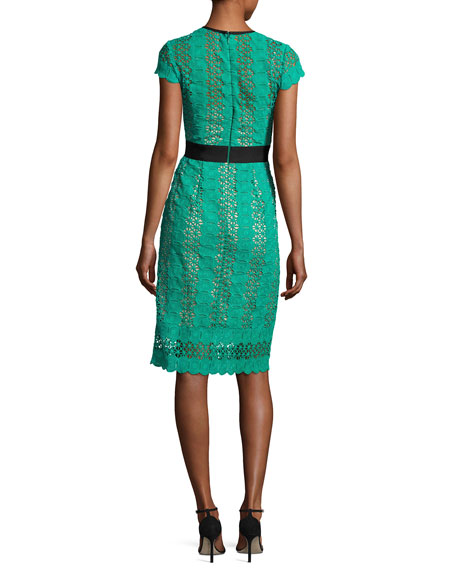 Short-Sleeve Circle Lace Sheath Dress