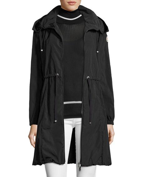 Tuile Long Hooded Drawstring Jacket