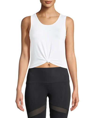 Knot Cropped Tank Top  White