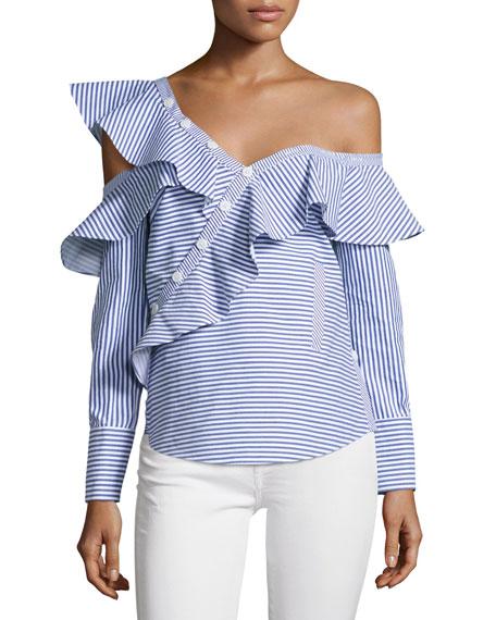 Striped Frill Asymmetric Shirt, Navy/White
