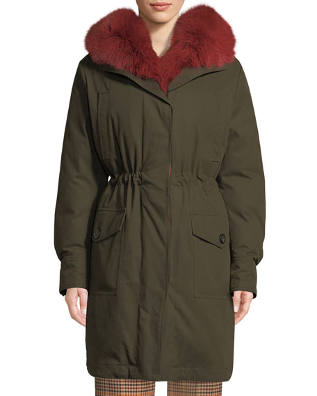 Image 1 of 1: Hypolais Trench Coat w/ Fur Lining