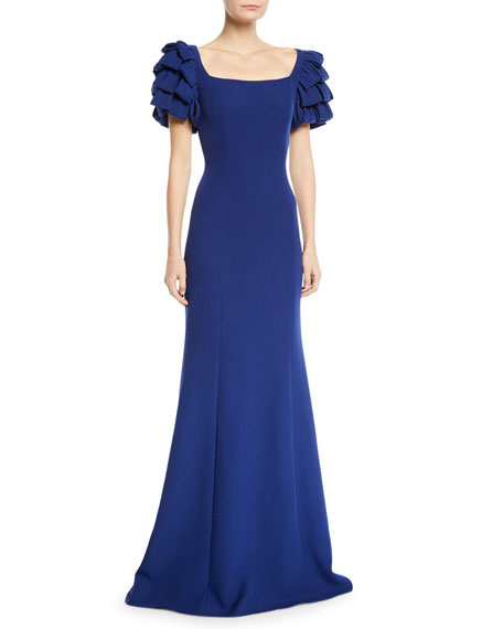 Image 1 of 1: Square-Neck Gown w/ Looped Sleeves