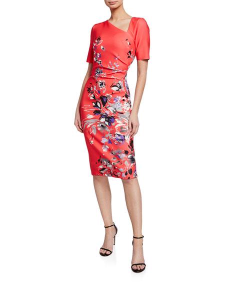 Floral-Print Short-Sleeve Asymmetric Scuba Dress