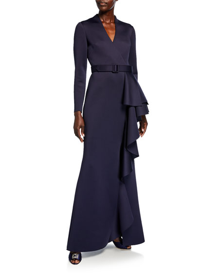 Image 1 of 1: Long-Sleeve Scuba Gown with Side Ruffle Detail