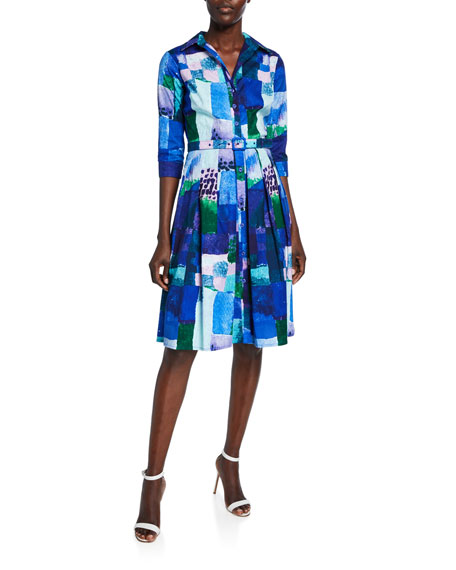 Audrey Abstract Watercolor Button-Down 3/4-Sleeve Shirtdress