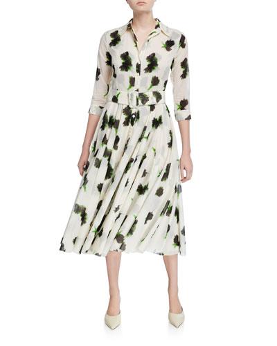 Aster Passion Rose 3/4-Sleeve Musola Midi Dress