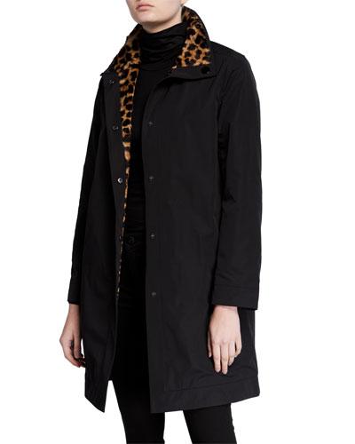 Reversible Rain Coat w/ Leopard Print