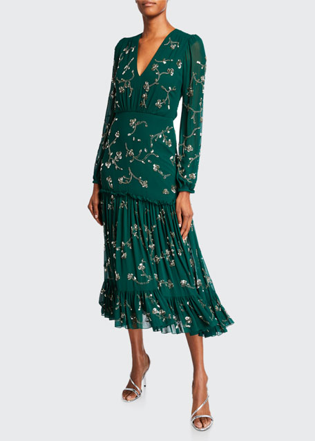 Image 1 of 1: Devon Floral-Print Long-Sleeve Tiered Dress