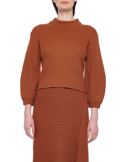 Image 1 of 1: Ribbed Merino Sweater with Slit Neckline