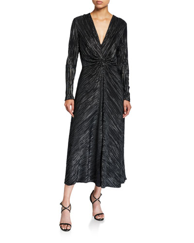 #7 Gathered Metallic Long-Sleeve Cocktail Dress