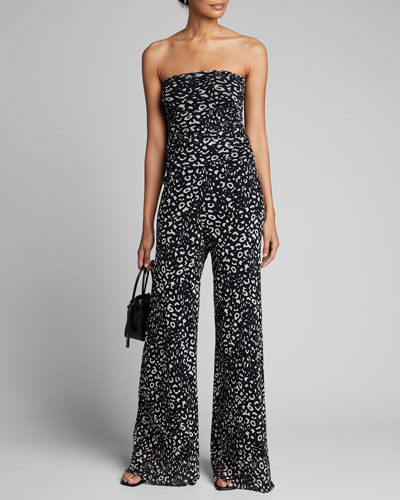 Animal Bandeau Wide-Leg Jumpsuit