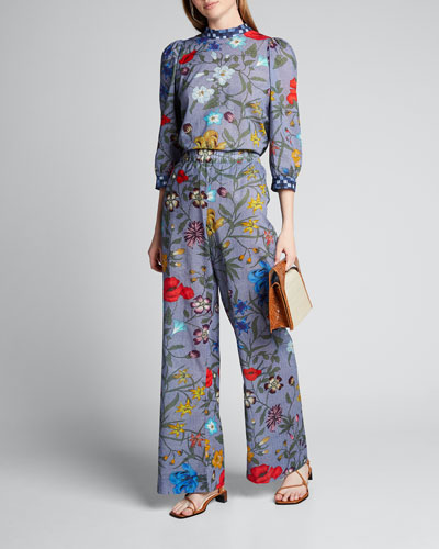 Joanie Floral-Print 3/4-Sleeve Blouse