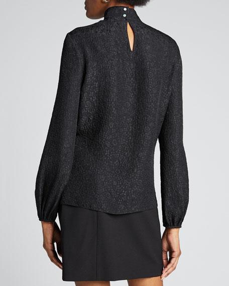 Floral Jacquard Mock Neck Long-Sleeve Silk Top