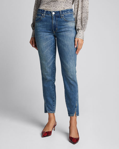 Mid-Rise Twisted Seam Ankle Skinny Jeans