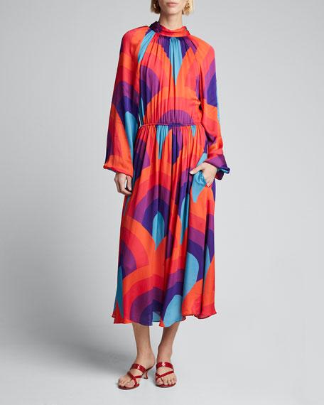 Mai Printed Open-Back Blouson-Sleeve Dress