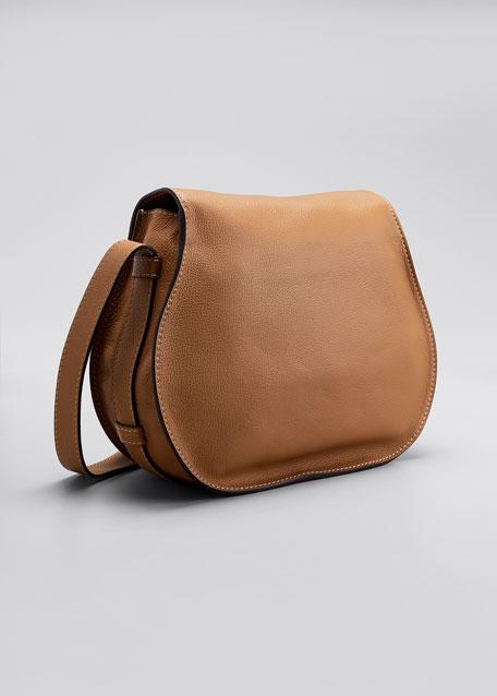 Marcie Medium Leather Crossbody Bag, Gray