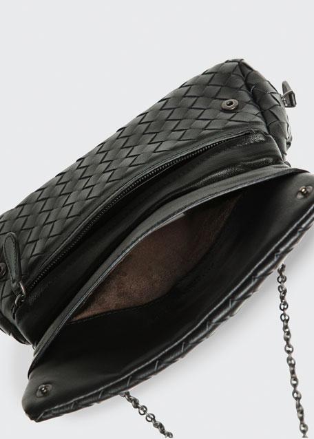 Intrecciato Small Chain Crossbody Bag, Black