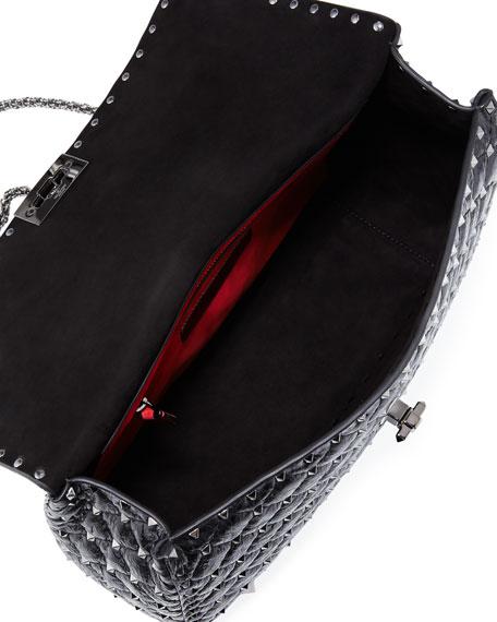 Rockstud Large Quilted Shoulder Bag, Black