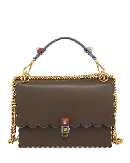Fendi Kan I Scalloped Leather Top-Handle Bag