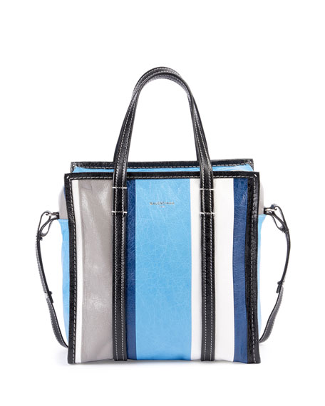 9f710d101 Balenciaga Bazar Small Striped Leather Shopper Tote Bag, Blue/Multi