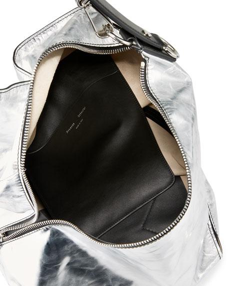 Medium Soft Metallic Hobo Bag, Silver