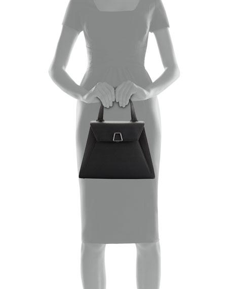 Alba Structured Leather Top-Handle Bag, Black