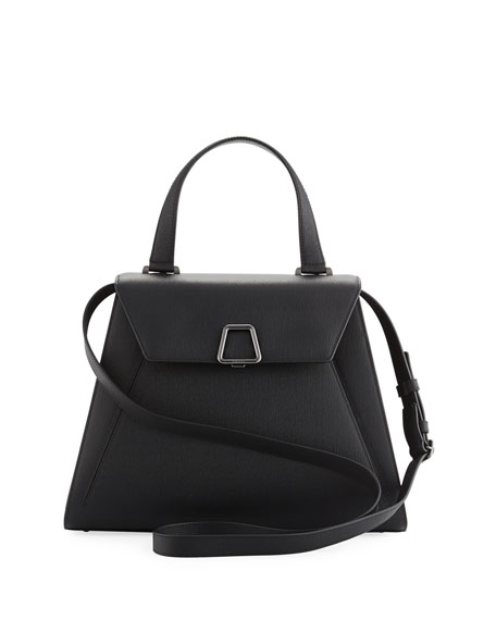 Alba Structured Leather Top-Handle Bag, Black