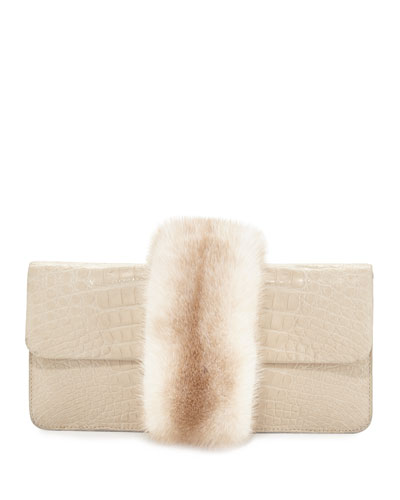 Mink-Trim Crocodile Clutch Bag