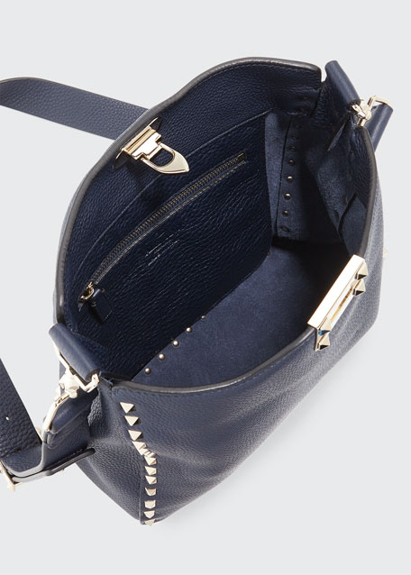 Rockstud Small Leather Hobo Bag