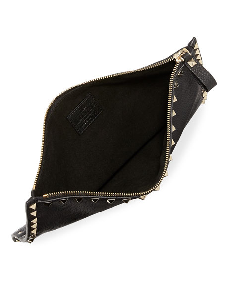 Rockstud Large Leather Zip Pouch Bag