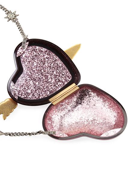 86c334e85fc Gucci Broadway Glitter Resin Heart Minaudiere Clutch Bag
