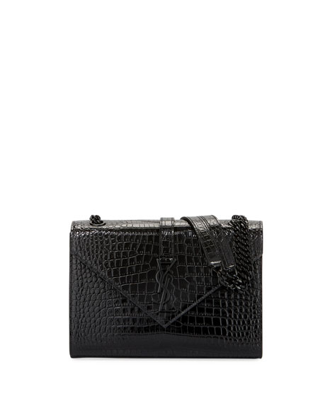 V Flap Medium Shiny Croc-Embossed Envelope Shoulder Bag