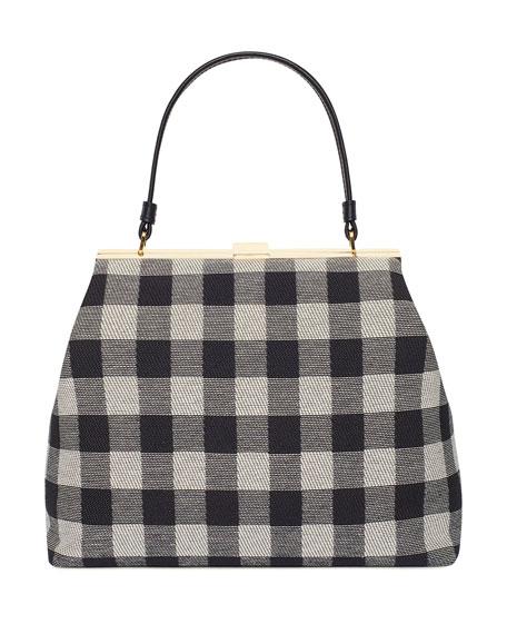 Check Canvas Elegant Top-Handle Bag