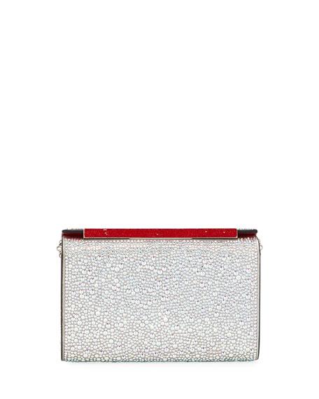 Vanite Small Metallic Crystal-Encrusted Suede Clutch Bag