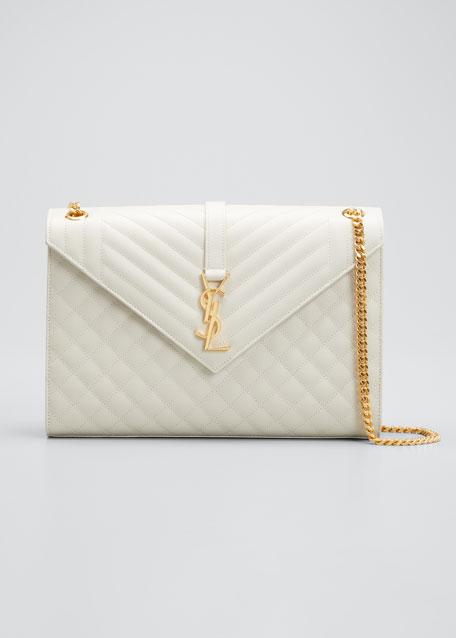Monogram YSL V-Flap Large Tri-Quilt Envelope Chain Shoulder Bag - Golden Hardware