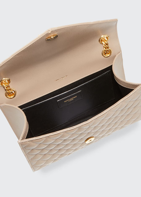 Medium Tri-Quilted Matelasse Grain de Poudre Flap Shoulder Bag, Golden Hardware