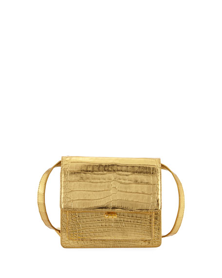 Gili Metallic Crocodile Crossbody Bag