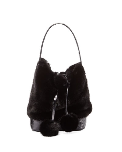 Nina Small Mink Fur Bucket Bag w/ Crocodile Trim